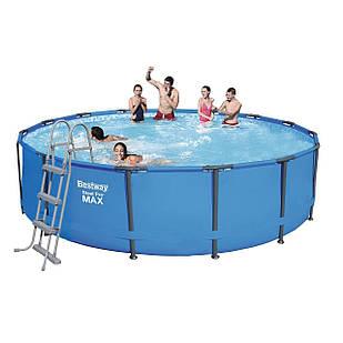 Каркасный бассейн Bestway 56488 - 1, 457 х 107 см (лестница, тент, подстилка)