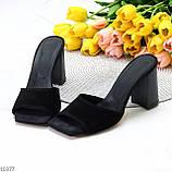 Шлепанцы / сабо женские черные на каблуке 9,5 см натуральная замш, фото 2