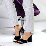 Шлепанцы / сабо женские черные на каблуке 9,5 см натуральная замш, фото 3