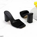 Шлепанцы / сабо женские черные на каблуке 9,5 см натуральная замш, фото 4
