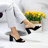 Шлепанцы / сабо женские черные на каблуке 9,5 см натуральная замш, фото 5