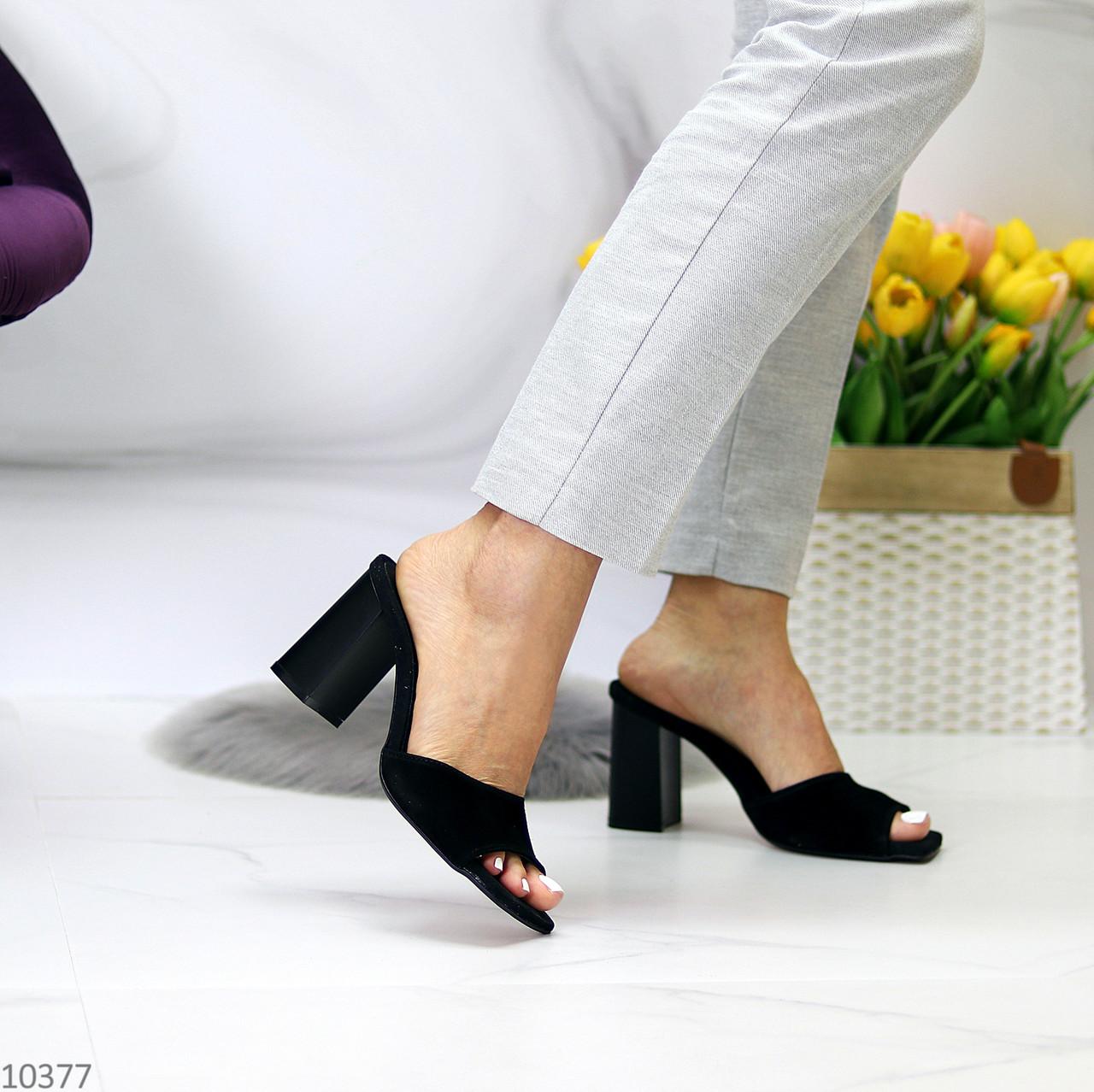 Шлепанцы / сабо женские черные на каблуке 9,5 см натуральная замш
