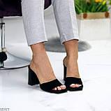 Шлепанцы / сабо женские черные на каблуке 9,5 см натуральная замш, фото 7