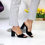 Шлепанцы / сабо женские черные на каблуке 9,5 см натуральная замш, фото 8