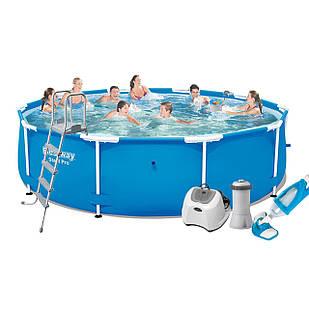 Каркасный бассейн Bestway 5612U - 6, 427 х 132 см (4 г/ч, 3 785 л/ч, лестница, тент, подстилка, набор для