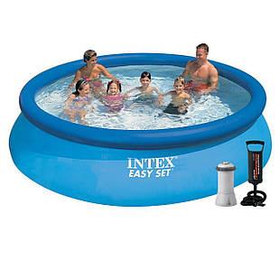Надувной бассейн Intex 28130 - 5, 366 х 76 см (3 785 л/ч, подстилка, тент, насос)
