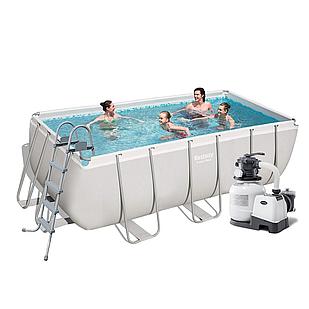 Каркасный бассейн Bestway 56456 - 6, 412 х 201 х 122 см (6 000 л/ч, лестница, тент, подстилка)