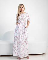 Нежное летнее платье с цветочным принтом молочное, фото 1