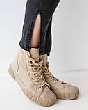 Модные темно-серые джинсы с разрезом сбоку и с высокой посадкой в размерах: S, M, L, XL, фото 8