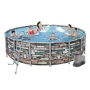 Каркасный бассейн Bestway 56966, 488 х 122 см (5 678 л/ч, дозатор, лестница, тент)