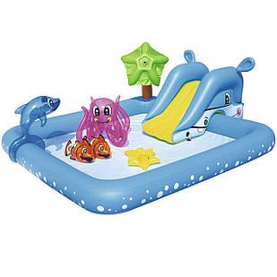 Надувной игровой центр Bestway 53052 «Аквариум», 239 х 206 х 86 см,с горкой, с игрушками