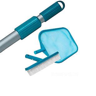 Набор 3в1 Intex 29050/52/54: Сачок, щетка с телескопической ручкой и для очистки верхнего слоя воды (диаметр