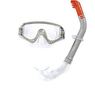 Набор 2 в 1 для плавания Bestway 24020 (маска: размер L, (14+), обхват головы ≈ 54-65 см, трубка), серый