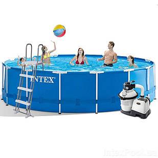 Каркасный бассейн Intex 28242 - 6, 457 x 122 см (4 500 л/ч, лестница, тент, подстилка)