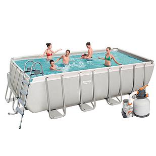 Каркасный бассейн Bestway 56671, 488 х 244 х 122 см (2 006 л/ч (песочный), дозатор, лестница, тент)