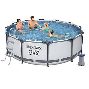 Каркасный бассейн Bestway 56418, 366 х 100 см (2 006 л/ч, лестница)