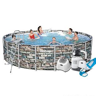 Каркасный бассейн Bestway 56886-11, 549 x 132 cм  (6 000 л/ч, лестница, тент, подстилка, набор для ухода)