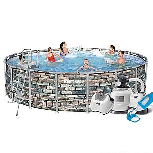 Каркасный бассейн Bestway 56886 - 13, 549 x 132 см (12 г/ч, 10 000 л/ч, лестница, тент, подстилка, набор для