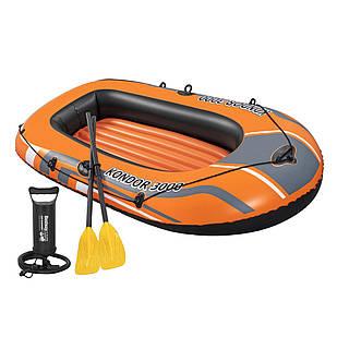 Двухместная надувная лодка Bestway 61102 NE, Kondor 3000 Set (Hydro Force), 211 х 115 см,  (весла, ручной