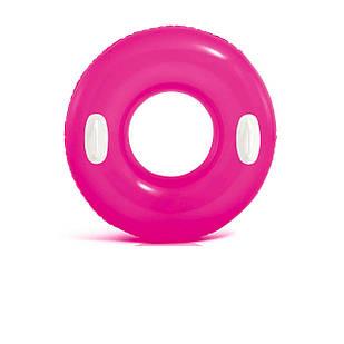 Надувной круг Intex 59258 «Глянец», с ручками, 76 см, розовый