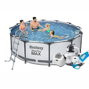 Каркасный бассейн Bestway 56420 - 10, 366 х 122 см (5 г/ч, 6 000 л/ч, лестница, тент, подстилка, набор для