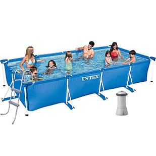 Каркасный бассейн Intex 28273 - 6, 450 х 220 х 84 см (3 785 л/ч, тент, подстилка, лестница)