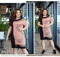 Плаття з обробкою сітка, чорний+бежевий, фото 1