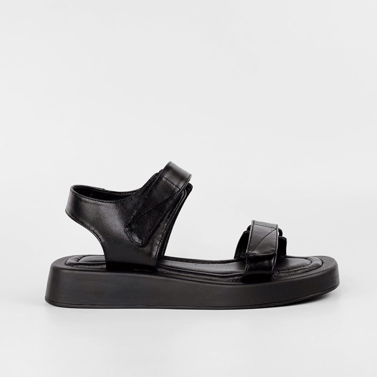 Сандалии женские кожаные чёрные на липучках MORENTO