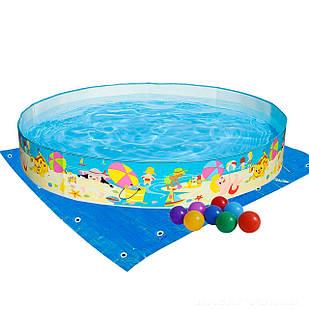Бассейн детский каркасный Intex 56451-2 «Пляж на мелководье», 152 х 25 см, с шариками 10 шт, подстилкой