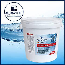 Froggy «Shock Chlor Tabs 20» | Шок-хлор в таблетках по 20 гр (банка 0,9 кг)