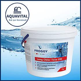 Froggy «Long Chlor Tabs» | Медленный хлор в таблетках по 200 гр (банка 1 кг)