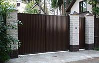 Ворота распашные, зашивка профнастил - вертикальное исполнение, фото 1