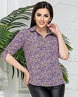 Блуза- рубашка  женская арт 828/1, в цветок сиреневый