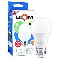Світлодіодна лампа Biom BT-512 A60 12W E27 4500К матова, фото 1