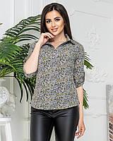 Блуза-рубашка  женская арт 828/1, в цветок оливковый