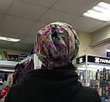Летняя в цветочек бандана-шапка-косынка-чалма красно-белая, фото 5