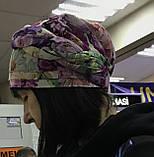 Летняя в цветочек бандана-шапка-косынка-чалма красно-белая, фото 3