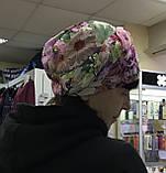 Летняя в цветочек бандана-шапка-косынка-чалма красно-белая, фото 4