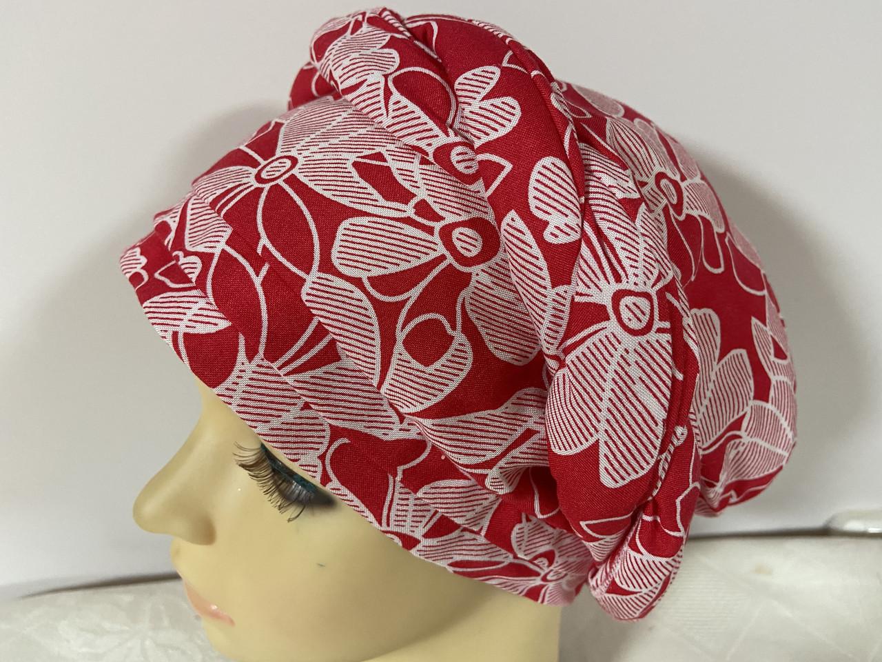 Летняя в цветочек бандана-шапка-косынка-чалма красно-белая