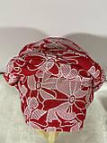 Летняя в цветочек бандана-шапка-косынка-чалма красно-белая, фото 2