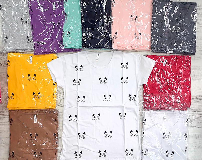 Модная хлопковая футболка с котиками 42-46 (в расцветках)