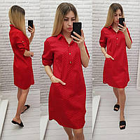 Платье-рубашка с карманами, арт 831, цвет красный в сердечко