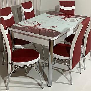 6-073 Стол раскладной из стекла и 6 стульев