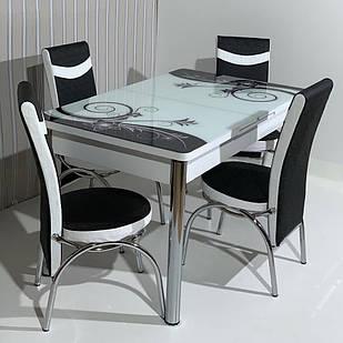 6-072 Стол раскладной из стекла и 6 стульев