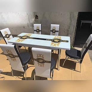 6-004 Стол раскладной из стекла и 6 стульев