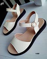 Женские босоножки сандалии бежевые, натуральная кожа