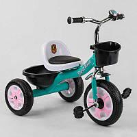 """Детский велосипед 3-х колёсный LM-7309 """"Best Trike"""" БИРЮЗОВЫЙ, пено колесо, метал. рама, звоночек, 2 корзины,"""