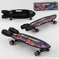 Скейтборд S-00501 Best Board (4) с музыкой и дымом, USB зарядка, аккумуляторные батарейки, колеса PU со светом