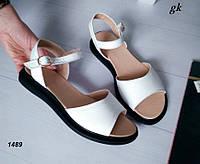 Женские босоножки сандалии белые на черной подошве, натуральная кожа, фото 1