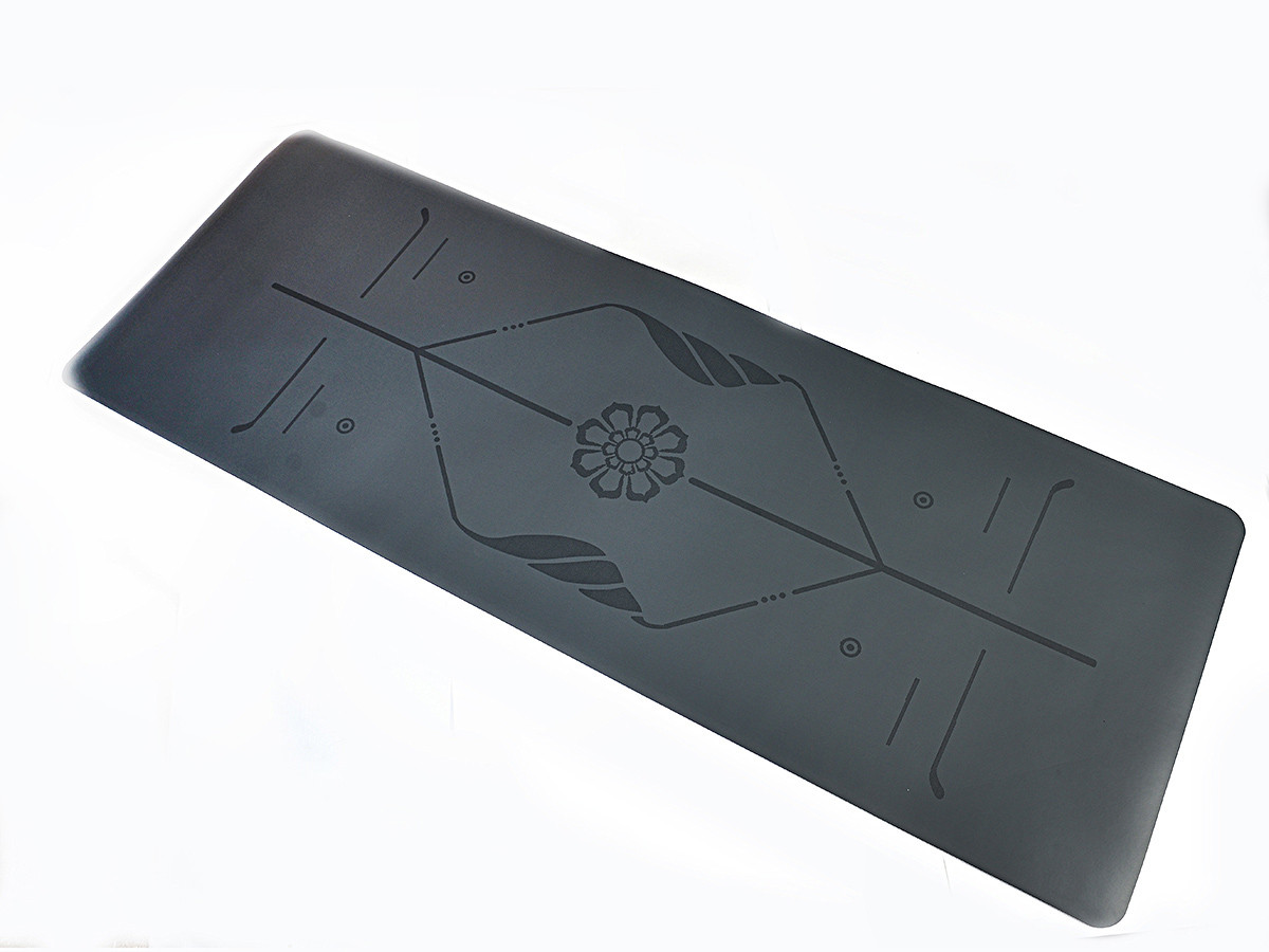 Коврик для йоги PU 183 х 68 х 0,4 см с разметкой серый